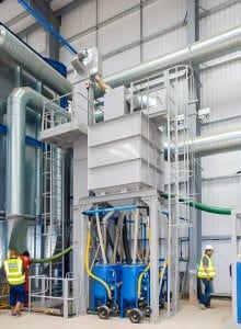 Airblast large capacity blast room media recovery elevator