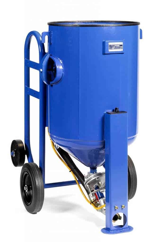 An Airblast portable blast machine that can be converted into a pressure hold blast machine.