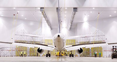 Airblast aircraft refinishing facility
