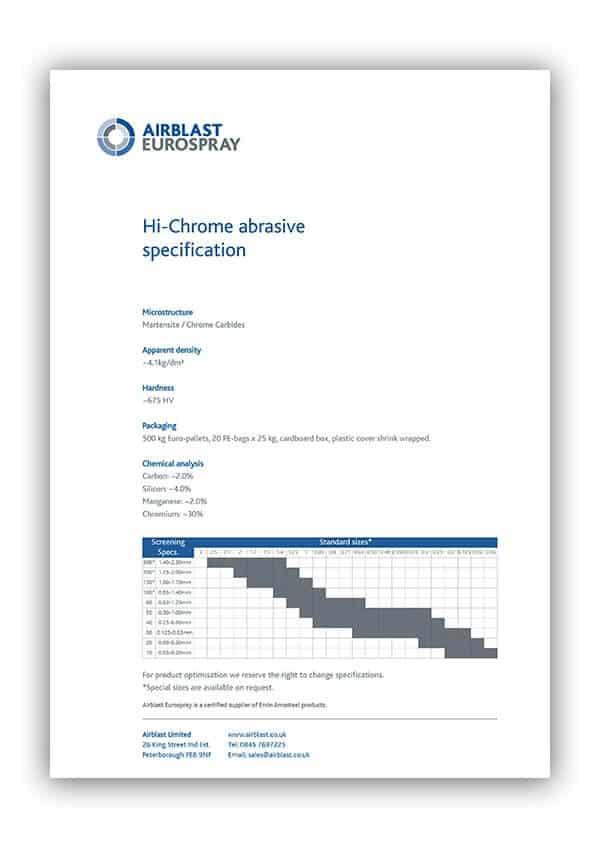 High Chrome abrasive data sheet