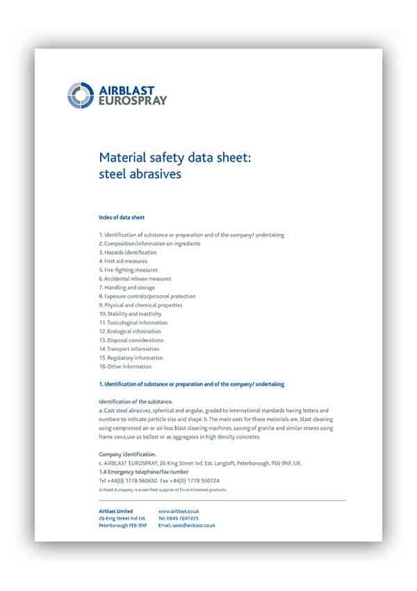 Material safety data sheet for steel abrasives
