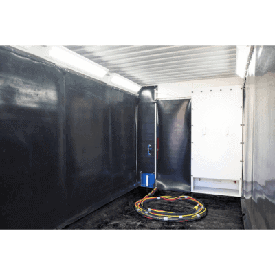 Containerised blast booth internal