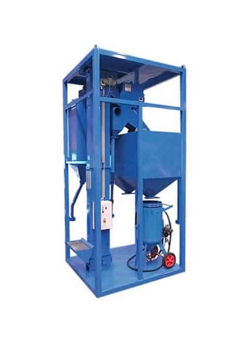 An RC-50-150 recycling system supplied by Airblast Eurospray, a world leader in the field of surface preparation and finishing. The RC-50-150 is an abrasive recycling system which can be used indoors or outdoors.