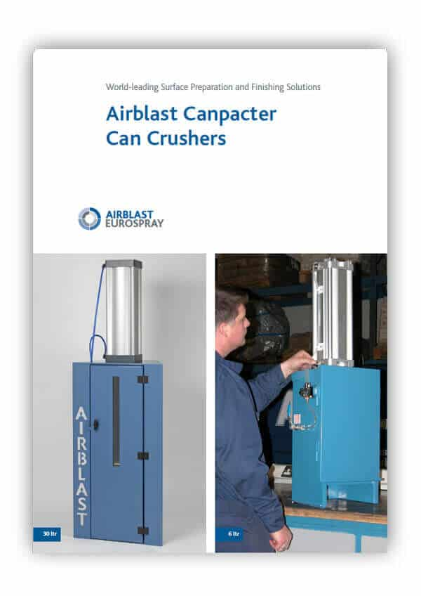 Airblast Canpacter Can Crusher Brochure Front cover